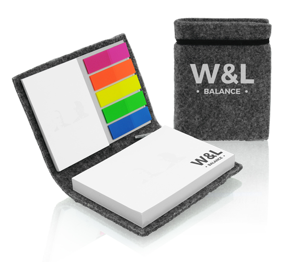 PM754 Sticky notes set in felt cover